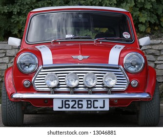 Classic red Mini front taken at the annual London to Brighton Mini Run