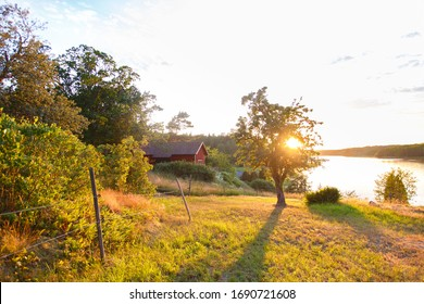 Classic Red summer garden cottage in Sweden. Traditional Sweden wooden old house in sunset light. Life on the one of Sweden islands