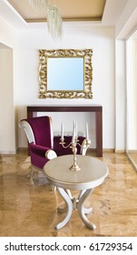 Classic retro interior - armchair, table, mirror