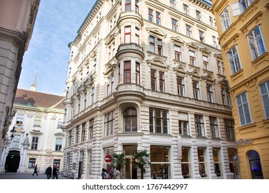 Classic retro vintage antique building for Austrians people and foreign travelers travel visit and walking shopping at Hoher Markt or Der Hohe Markt on September 24, 2019 in Vienna, Austria