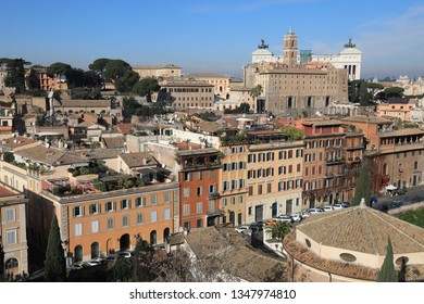 Classic Rome - aerial view to old roof buildings and street