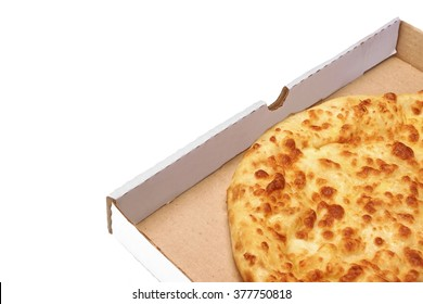 Classic Round Cheese Pie With Brownish Crust Or Italian Quarto Formaggi  Pizza Or Georgian Khachapuri  In Carboard Box Isolated  On White Background, Top View