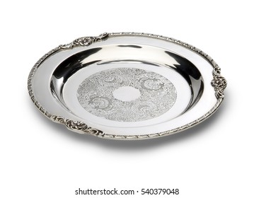 Classic round tray in silver on white table