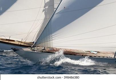 Classic sailing boats racing.