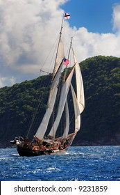 Classic sailing ship off the coast of St.John, US Virgin Islands