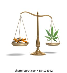 classic scale of justice with marijuana and pills