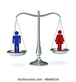 classic scales of justice with abstract male and female figures, isolated on white background