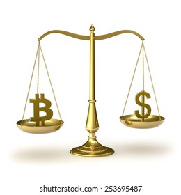 Classic scales of justice with bitcoin and dollar symbols, isolated on white background