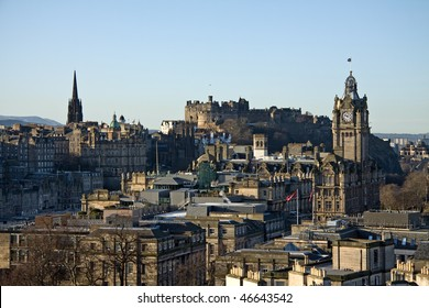 Classic scenic view of Edinburgh captured on Calton Hill