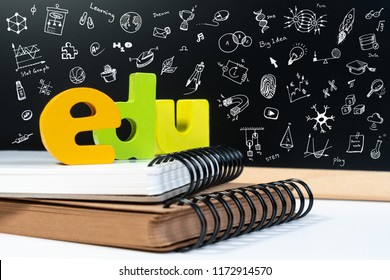 Classic school background with wooden word EDU and doodle draw icon for education. Education school blackboard background concept.