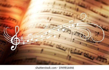 Classic sheets with music notes sign - Shutterstock ID 1949816446