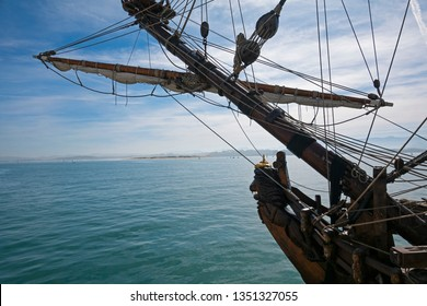 a classic ship bow full of ropes wooden made or wooden ship sailboat with a carved figurehead