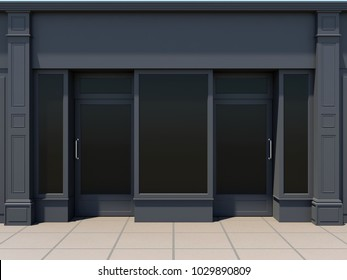Classic shopfront in the sun - classic store front 3D render