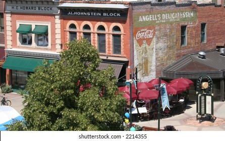 Classic shot of Old Town area of Fort Collins, CO taken in summer.