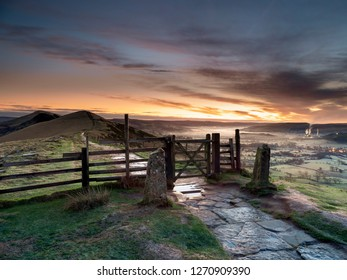 Classic shot of the wooden gate on the Great Ridge between Mam Tor and Hollings Cross at sunrise.