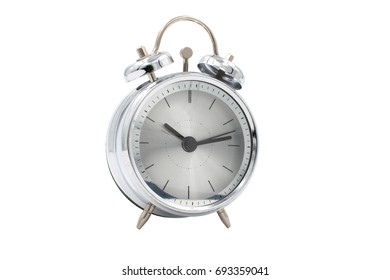 Classic silver table clock isolated on a white background