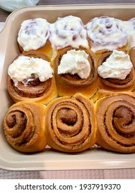 Classic Sinabones with cinnamon and sugar topped with mascarpone cream