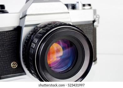 Classic SLR camera.Close up.
