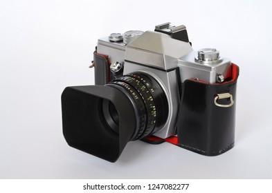 Classic slr film camera with black leather case