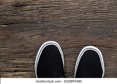 classic sneaker on old wooden