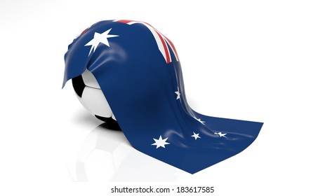 Classic soccer ball with flag of Australia on it.