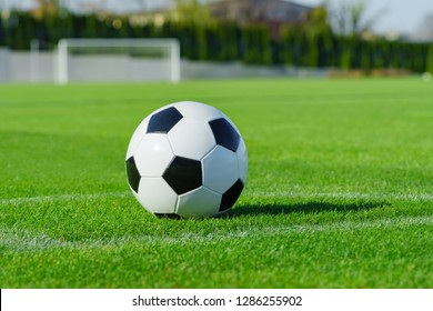 Classic soccer ball lies on the bright green grass on the football field in the designated area of the penalty area against the gate the sports stadium close-up in sports center for football players