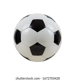 Classic soccer ball, typical black and white pattern, isolated on white background. Traditional soccer ball symbol, real studio photo.