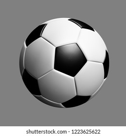 Classic soccerball isolated on grey background