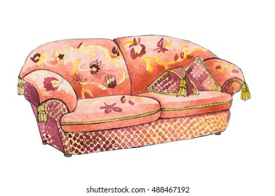 Classic sofa in red color