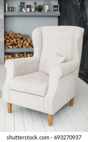 Classic soft armchair in a room