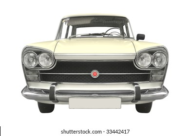 classic Spanish car from the 60s isolated on white background