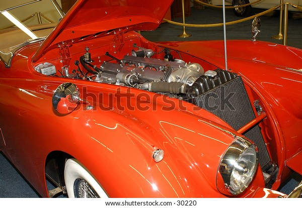 classic sports car in automobile museum