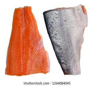 Classic standard pieces of red  salmon fish fillet. Isolated on white studio macro set