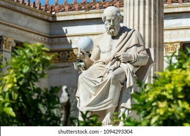 classic statue of plato at academy of athens