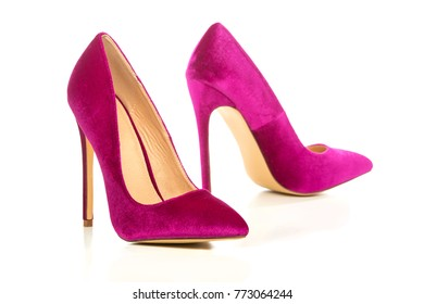 Classic stiletto high heels shoes in pink suede/velvet.