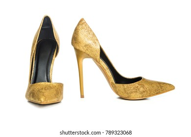 Classic stiletto high heels shoes in golden snake-print design.