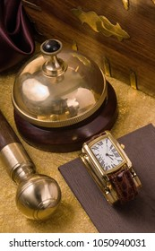 Classic still life with pipe and clock