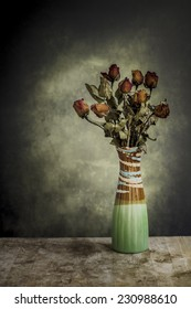 classic still life style with Roses wither