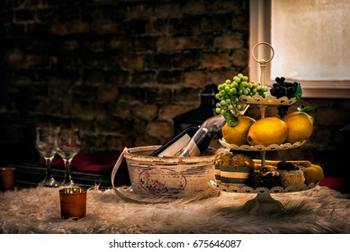 Classic Still Life with Wine and Fruits , Lemon , Grape - Vintage Art Foods and Drink