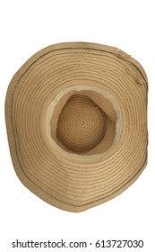 Classic straw hat turn upside down isolated on white