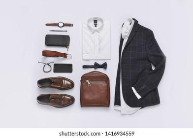 Classic stripy suit, white shirt,watch, shoes, purse,watch, top view