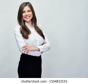 Classic studio portrait of smiling positive business woman.
