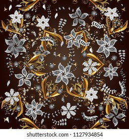 Classic style. Graceful, delicate ornamentation in the Rococo style. Beautiful pattern for textile, scrapbooking. Ornamental in Baroque style. Patterns on brown, black and gray colors.