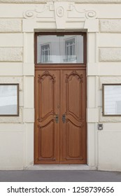 Classic Style Wooden Door at Building Entrance