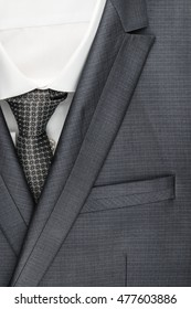 Classic suit, shirt and tie, close-up, top view