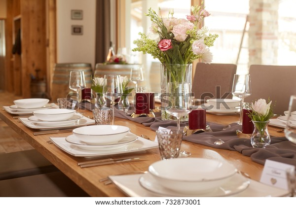 Classic Table Decor Rustic Space Flowers Stock Photo Edit Now 732873001