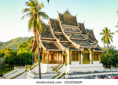 Classic Temple Landmark from Luang Prabang Laos South East Asia. xiengthong the most amazing buddhist temple in the heart of the city