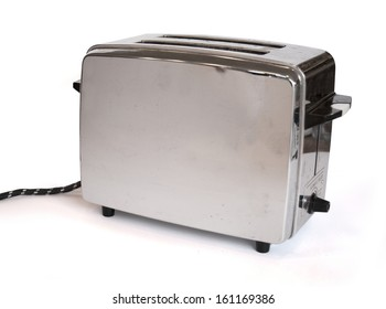 A classic toaster from the sixties on a white background