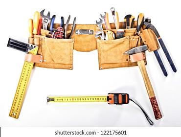 classic tools belt isolated on white background