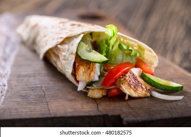 classic tortilla wrap with grilled chicken